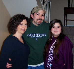 Me, my husband (Jim) and our daughter (Cecilia) in January 2013