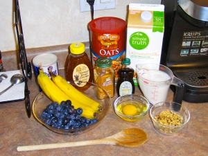 Ingredients for baked oatmeal with blueberries and bananas