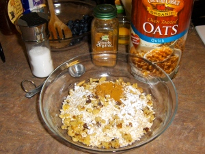 Mix the dry ingredients in a medium bowl