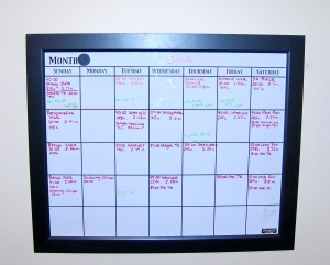 My whiteboard calendar in my workout studio - the purple entries are mine (green is Jim's).  June was a very FULL month of training!